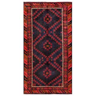 Herat Oriental Afghan Hand-knotted Tribal Balouchi Navy/ Red Wool Rug (4'11 x 9'5)