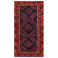 Herat Oriental Afghan Hand-knotted Tribal Balouchi Wool Rug - 4'11 x 9'5
