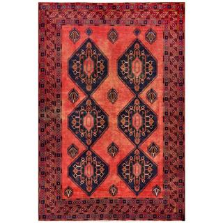 Herat Oriental Afghan Hand-knotted Tribal Balouchi Rust/ Navy Wool Rug (6'9 x 10'2)