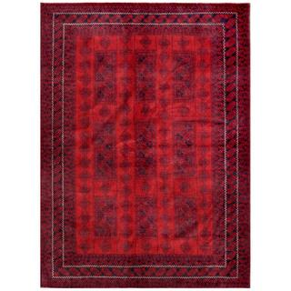 Herat Oriental Afghan Hand-knotted Tribal Balouchi Red/ Navy (6'11 x 9'6)