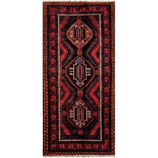 Herat Oriental Afghan Hand-knotted Tribal Balouchi Wool Rug (4'7 x 9'11)|https://ak1.ostkcdn.com/images/products/8760391/Afghan-Hand-knotted-Tribal-Balouchi-Black-Red-Wool-Rug-47-x-911-P16003132.jpg?impolicy=medium