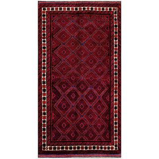 Herat Oriental Afghan Hand-knotted Tribal Balouchi Red/ Black Wool Rug (5'2 x 9'6)