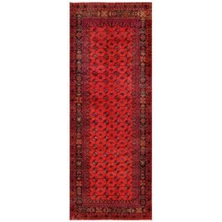Herat Oriental Afghan Hand-knotted Tribal Balouchi Red/ Navy Wool Rug (4'8 x 12')