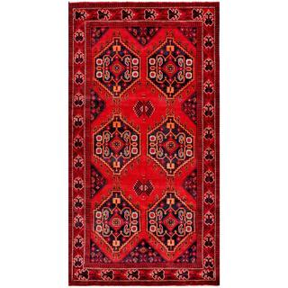 Herat Oriental Afghan Hand-knotted Tribal Balouchi Red/ Navy Wool Rug (4'7 x 8'8)