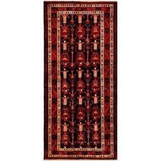 Herat Oriental Afghan Hand-knotted Tribal Balouchi Black/ Red Wool Rug (3'10 x 8'9)
