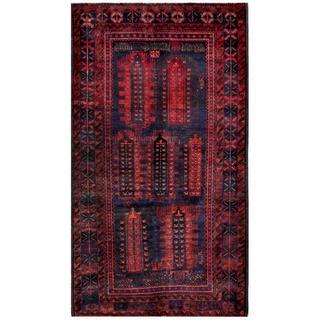 Herat Oriental Afghan Hand-knotted Tribal Balouchi Wool Rug (4'8 x 8'4)