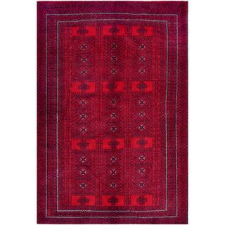 Herat Oriental Afghan Hand-knotted Tribal Balouchi Red/ Navy Wool Rug (5'11 x 8'9)
