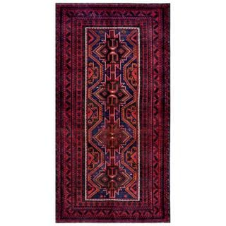 Herat Oriental Afghan Hand-knotted Tribal Balouchi Red/ Black Wool Rug (5'4 x 10'5)