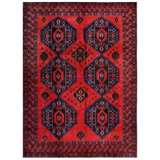 Herat Oriental Afghan Hand-knotted Tribal Balouchi Red/ Blue Wool Rug (7'2 x 9'8)