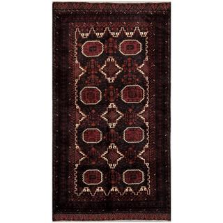 Herat Oriental Afghan Hand-knotted Tribal Balouchi Grey/ Maroon Wool Rug (4'9 x 8'11)