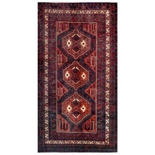 Herat Oriental Afghan Hand-knotted Tribal Balouchi Rust/ Navy Wool Rug (4'9 x 8'9)