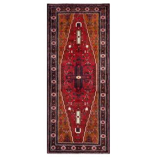 Herat Oriental Afghan Hand-knotted Tribal Balouchi Red/ Navy Wool Rug (4' x 9'4)