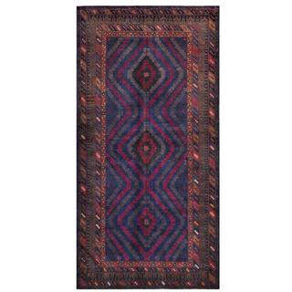 Herat Oriental Afghan Hand-knotted Tribal Balouchi Blue/ Burgundy Wool Rug (4'9 x 9'7)