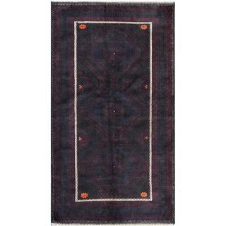 Herat Oriental Afghan Hand-knotted Tribal Balouchi Blue/ Purple Wool Rug (6'5 x 9'1)