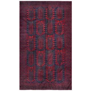 Herat Oriental Afghan Hand-knotted Tribal Balouchi Blue/ Red Wool Rug (6'1 x 10'3)