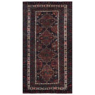 Herat Oriental Afghan Hand-knotted Tribal Balouchi Grey/ Ivory Wool Rug (4'10 x 9'1)
