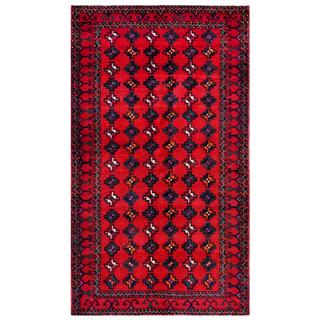 Herat Oriental Afghan Hand-knotted Tribal Balouchi Red/ Navy Wool Rug (5'6 x 9'6)
