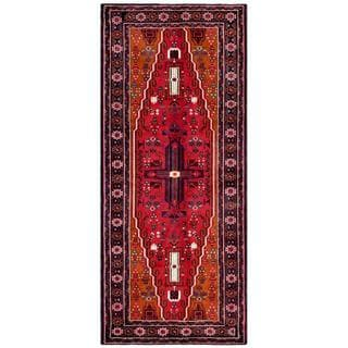 Herat Oriental Afghan Hand-knotted Tribal Balouchi Red/ Orange Wool Rug (4'1 x 9'8)