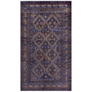 Herat Oriental Afghan Hand-knotted Tribal Balouchi Blue/ Tan Wool Rug (5'4 x 9'5)