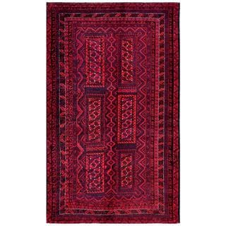 Herat Oriental Afghan Hand-knotted Tribal Balouchi Red/ Black Wool Rug (4'10 x 8'1)