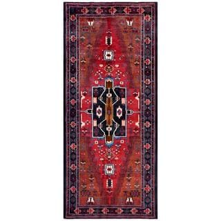 Herat Oriental Afghan Hand-knotted Tribal Balouchi Red/ Blue Wool Rug (4'1 x 9'7)