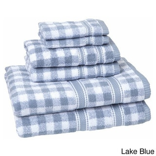 100-Percent Cotton Gingham Check 6-piece Towel Set