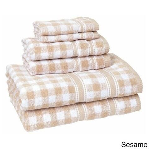 100-Percent Cotton Gingham Check 6-piece Towel Set