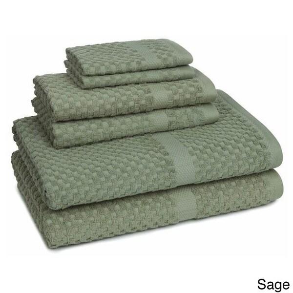 100-Percent Cotton Honeycomb Check 6-piece Towel Set