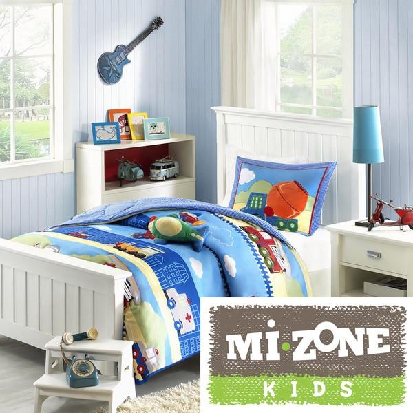 Mi Zone Kids Truck Zone Pattern 4-piece Comforter Set