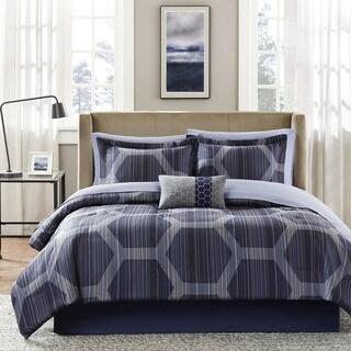 Madison Park Essentials Pierce Blue Complete Comforter and Cotton Sheet Set