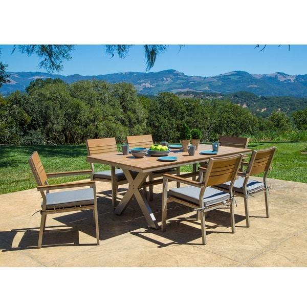 Corvus Jasmine 7-piece Champagne Designer Finished Outdoor Dining Set - 16003230 - Overstock.com ...