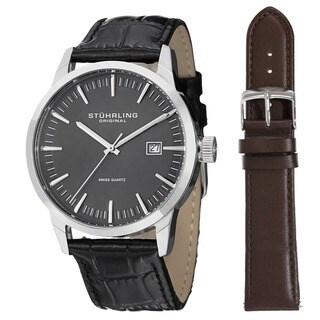 Stuhrling Original Men's Ascot 42 Watch Set Swiss Quartz Interchangeable Strap Watch