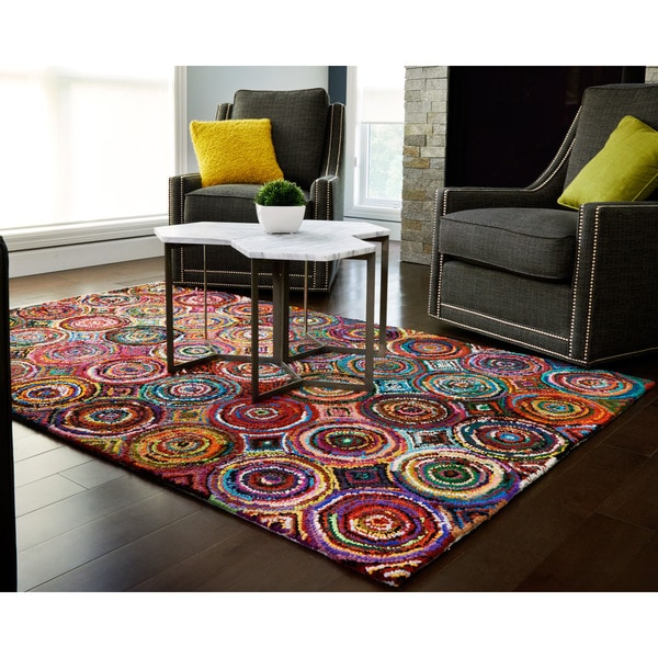 Jani Tangi Multi-Colored Circles Pattern Recycled Cotton Rug - multi/multi-color - 4' x 6'