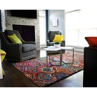 Jani Ante Multi-colored Mod Geometric Pattern Recycled Cotton Rug (5'x8')