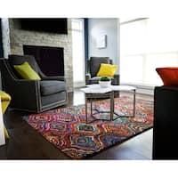 Jani Ante Multi-colored Mod Geometric Pattern Recycled Cotton Rug - multi - 5' x 8'
