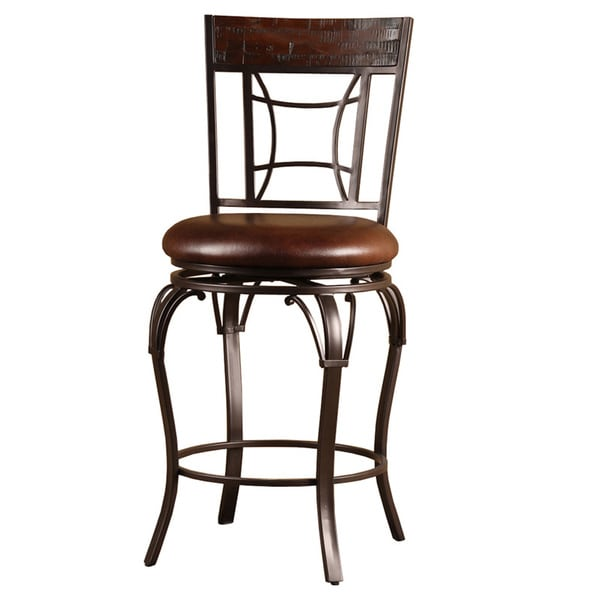 Counter Stools Overstock: Granada Wood And Metal Swivel Stool