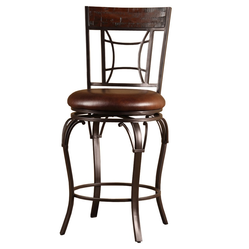 Shop Copper Grove Finnich Wood And Metal Swivel Stool