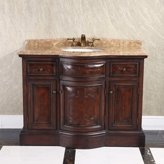 Natural Stone Top 36-inch Single Sink Vintage Style Bathroom Vanity