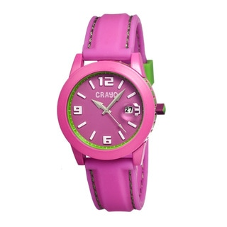 Crayo Women's 'Pop' Hot Pink Silicone Analog Watch