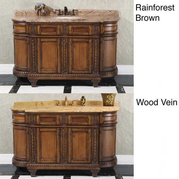 Shop 60 Inch Single Sink Vintage Style Natural Stone Top Bathroom Vanity Free Shipping Today