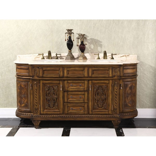 Natural stone top 71 inch double sink vintage style bathroom vanity free shipping today for Bathroom vanities vintage style