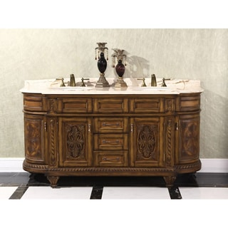 Natural Stone Top 71-inch Double Sink Vintage Style Bathroom Vanity