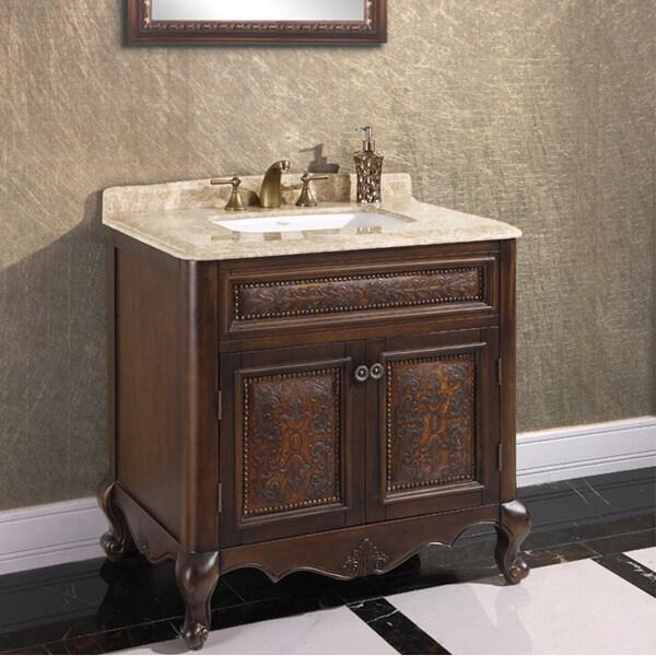 natural stone top 36 inch single sink vintage style bathroom vanity