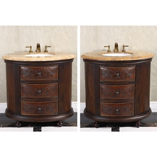 36-inch Single Sink Vintage Style Natural Stone Top Bathroom Vanity