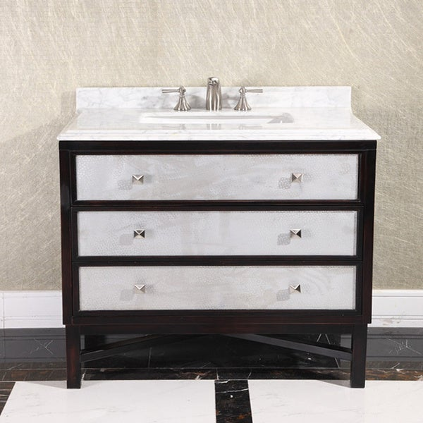 modern carrera white marble top 36 inch single sink bathroom vanity