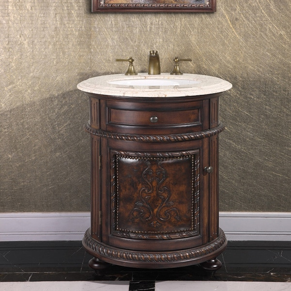 Natural stone top 24 inch single sink vintage style round bathroom vanity in a dark walnut for Bathroom vanities vintage style
