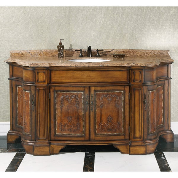Natural Stone Top 72 Inch Single Sink Vintage Style Bathroom Vanity