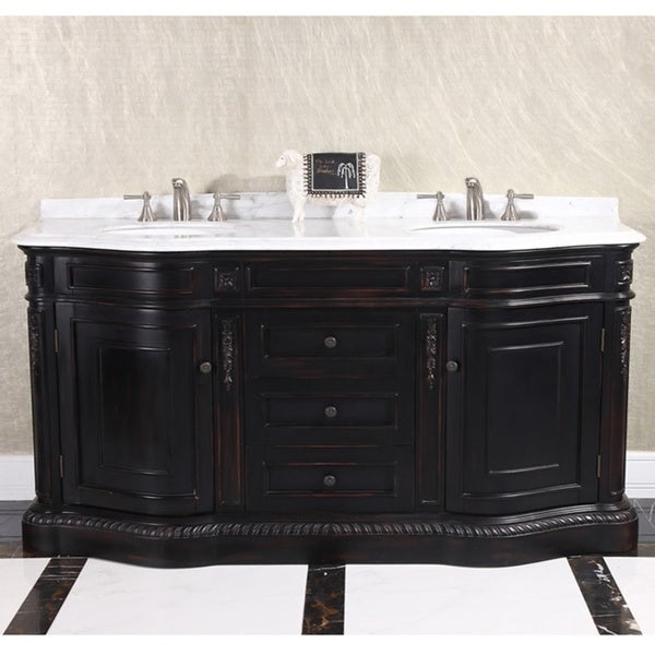Shop natural stone top 68 inch double sink vintage style - 50 inch double sink bathroom vanity ...