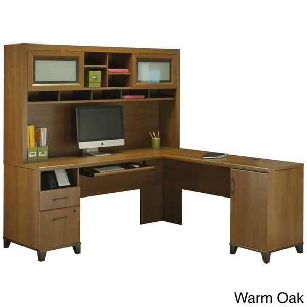 Bush L Desk Part - 48: Achieve L Shaped Desk With Hutch - Free Shipping Today - Overstock.com -  16003453
