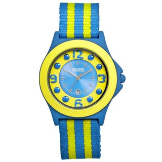 Crayo Carnival Yellow/ Blue Nylon Analog Watch